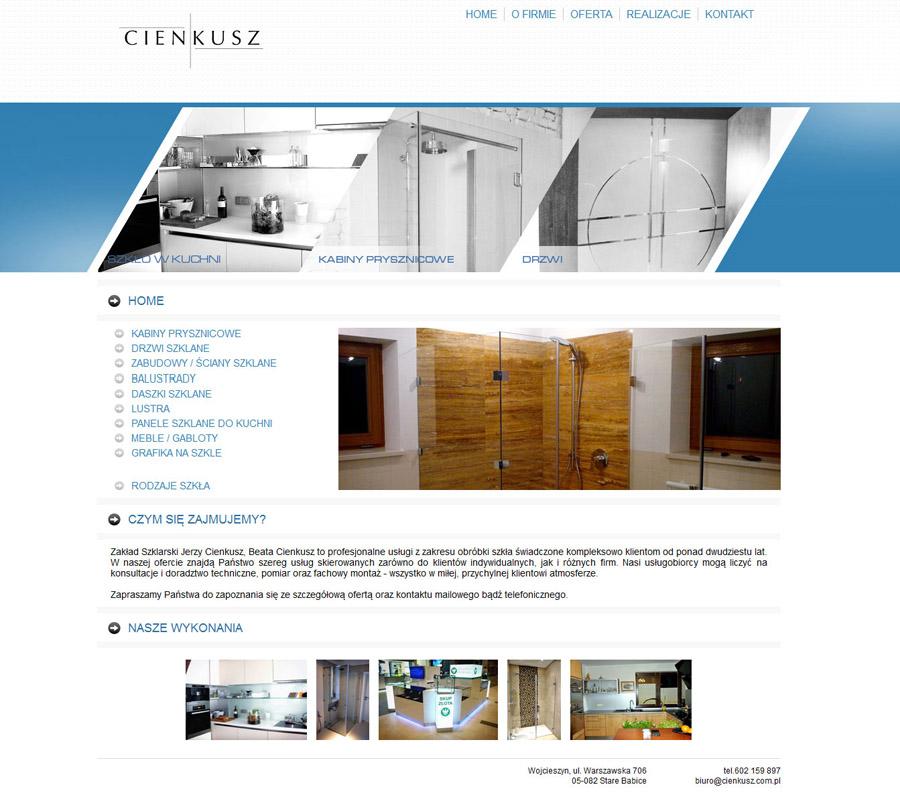 projekt strony www dla firmy Cienkusz
