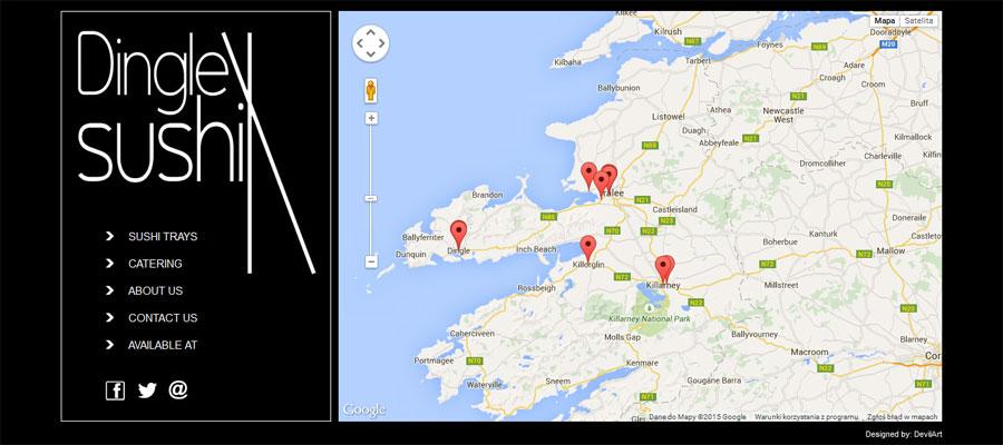 Interaktywna mapa Google na stronie internetowej Dinglesushi