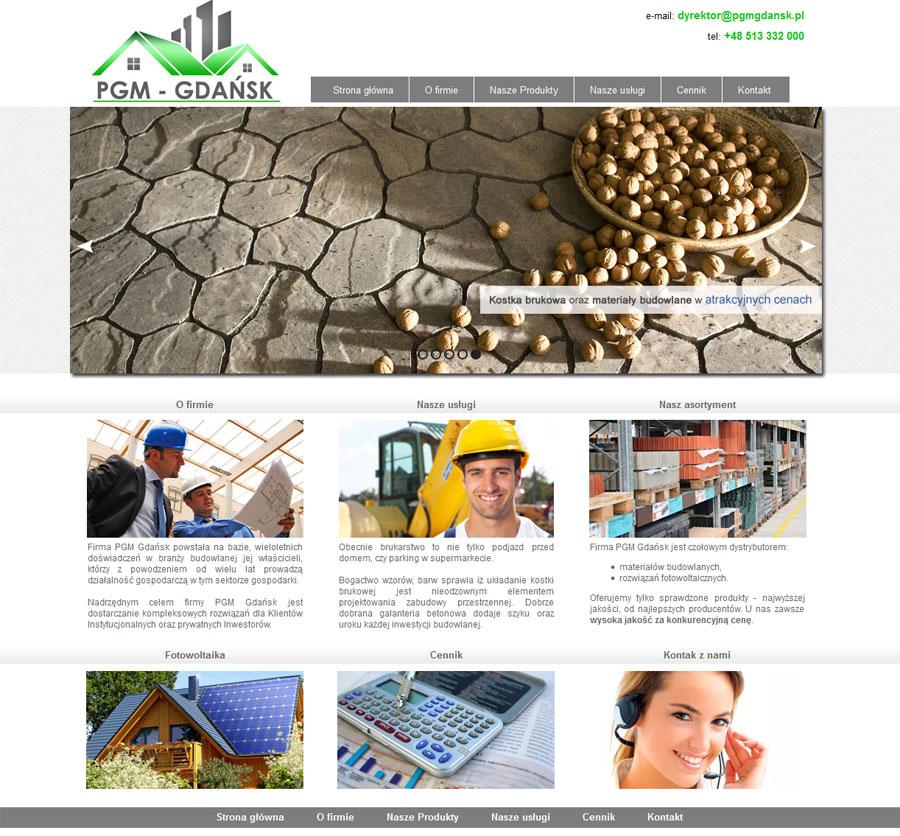 Projekt strony WWW dla firmy PGM
